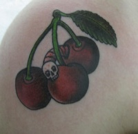 Old school cherry tattoo with dead worm