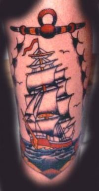 Traditional tattoo picture of big colored ship